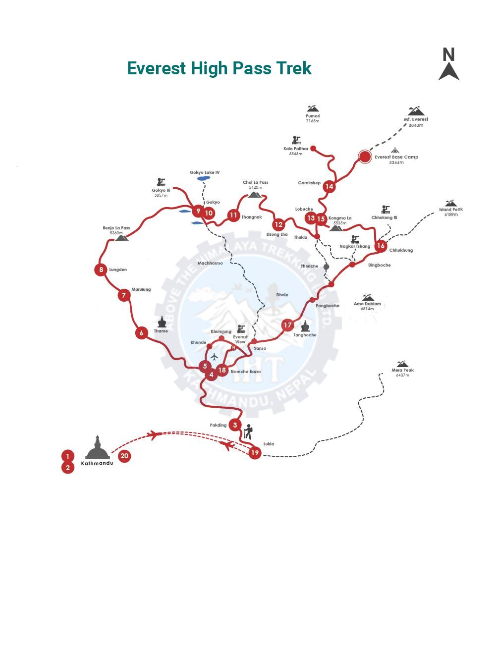 Everest high pass trek map