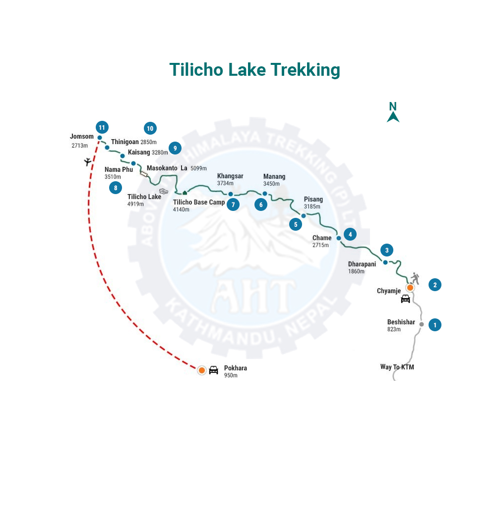 Tilicho lake trek map